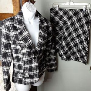 Faith Passion 2 pc Plaid Blazer Skirt Set Suit